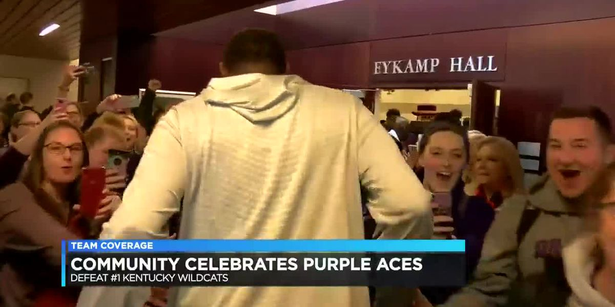 Evansville celebrates Purple Aces' historic win over UK