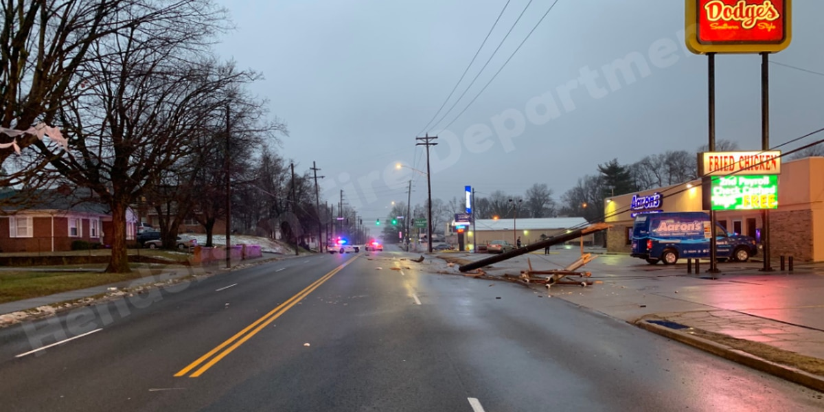 Utility pole struck in Henderson, resulting in downed power-lines