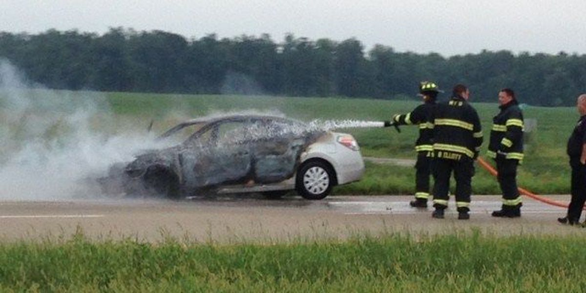 Car bursts into flames on I-69