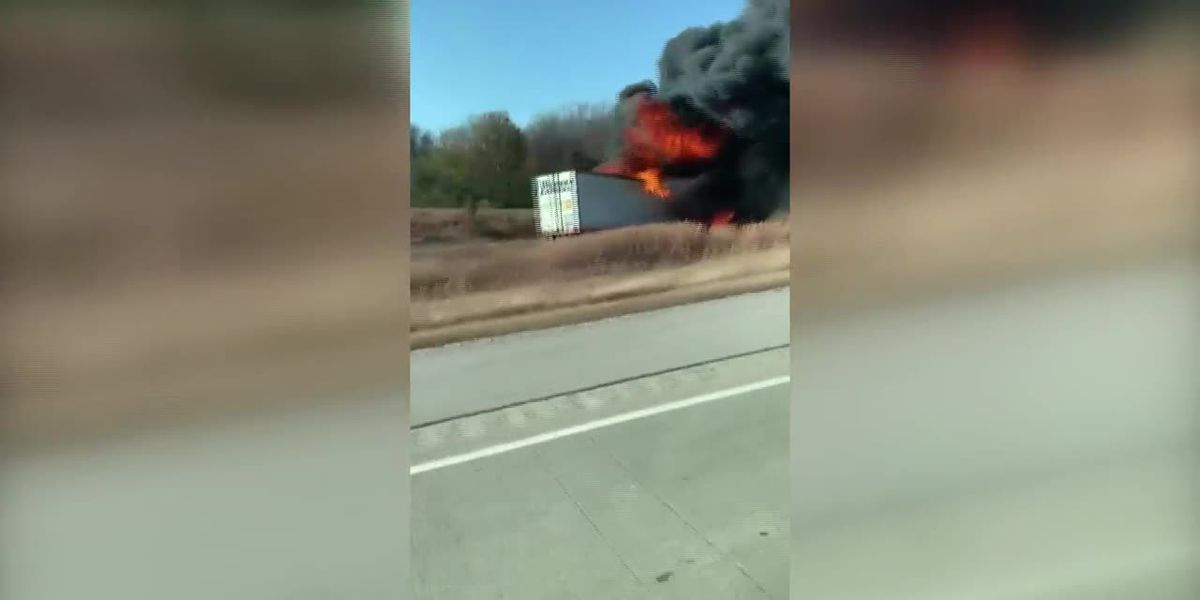Semi catches fire along I-69 in Gibson Co.