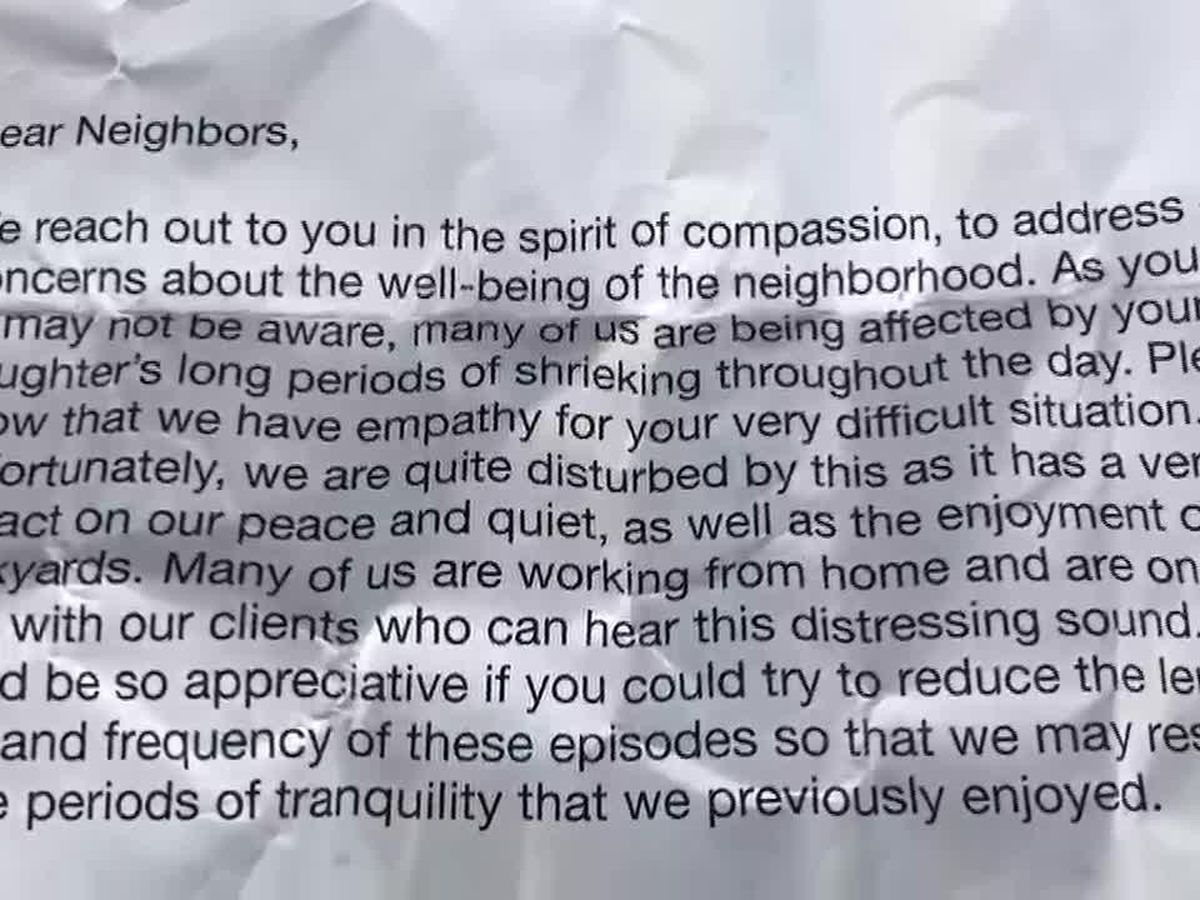 'It's very hurtful to read:' Calif. family receives anonymous complaint about daughter with autism