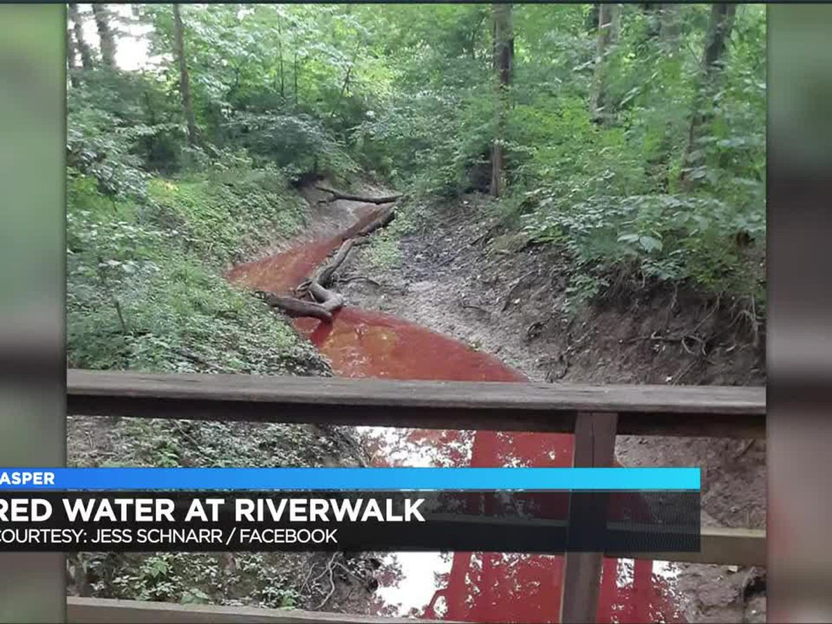 Officials to investigate water turning red at Jasper Riverwalk