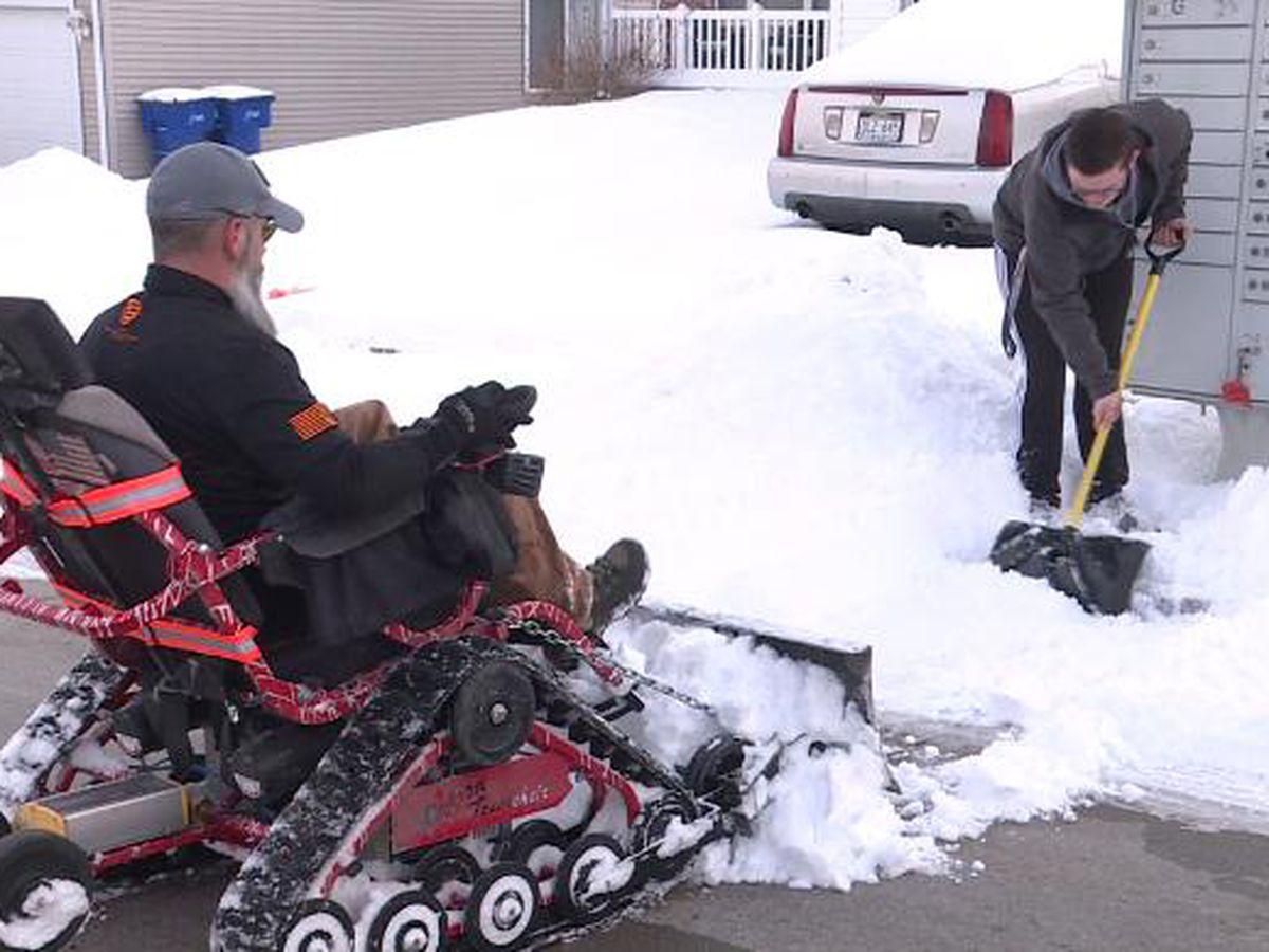 Iraq war veteran and teen next door partner up to remove neighborhood snow