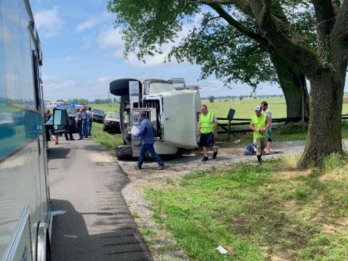 Semi flipped during crash near Waverly, KY