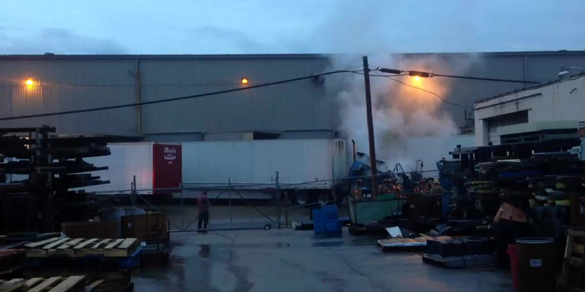 Semi catches fire at Berry Global loading dock