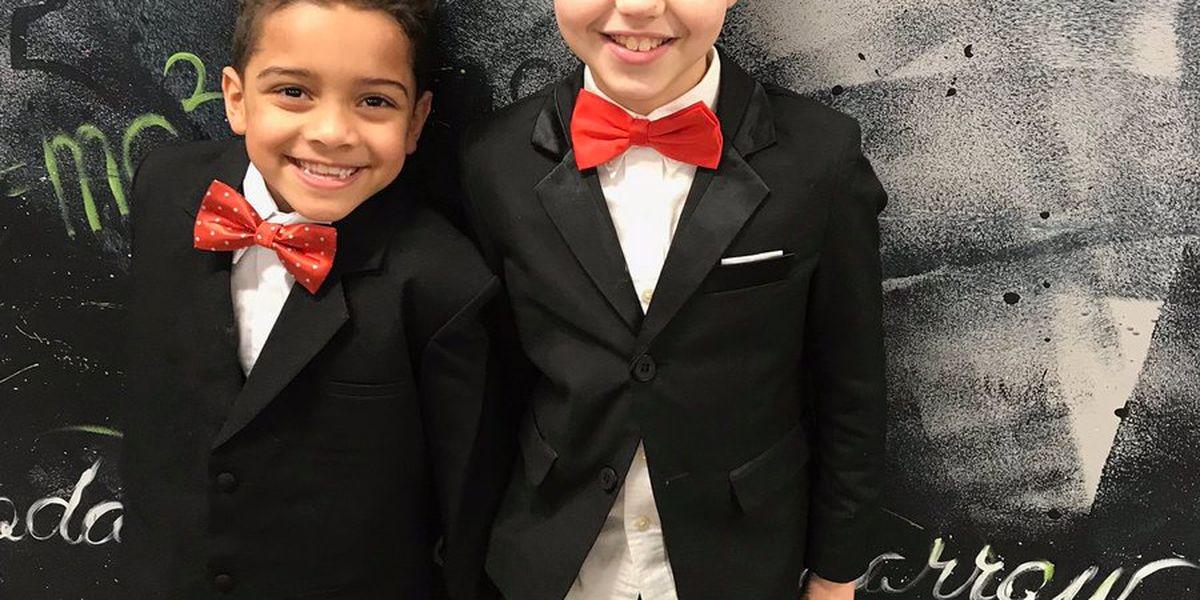 Best friends match in tuxedos on Valentine's day