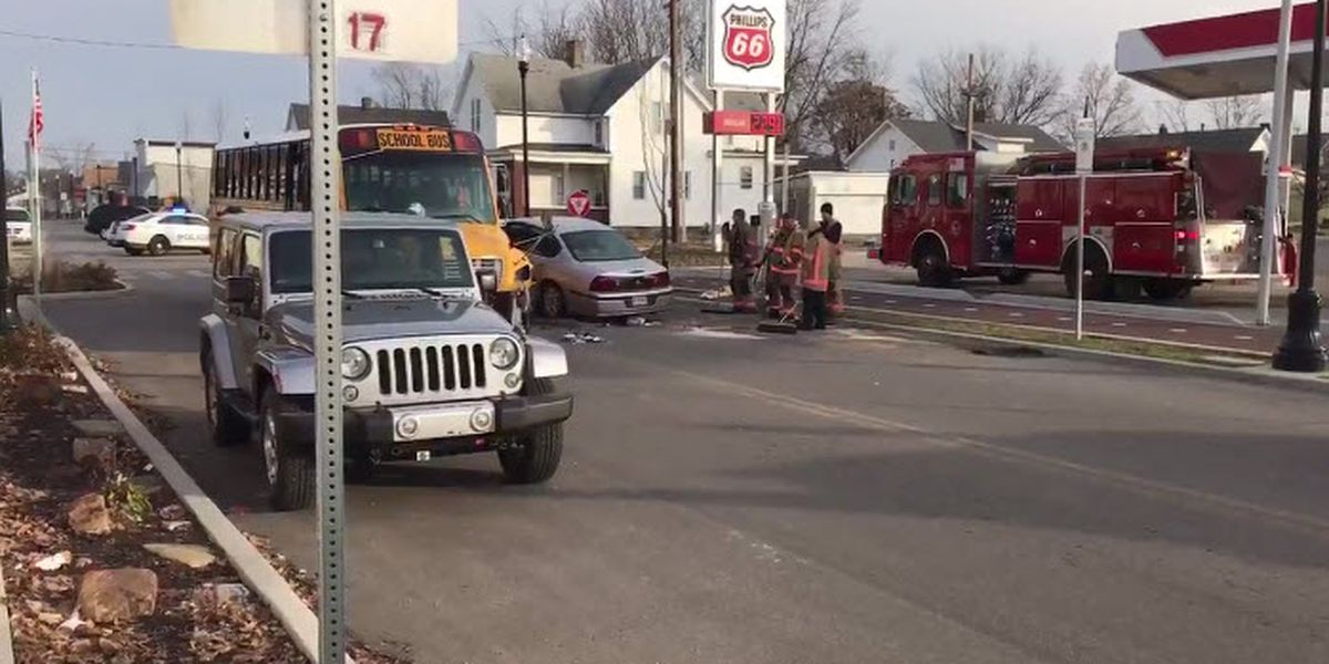 No children hurt in crash involving school bus in Evansville