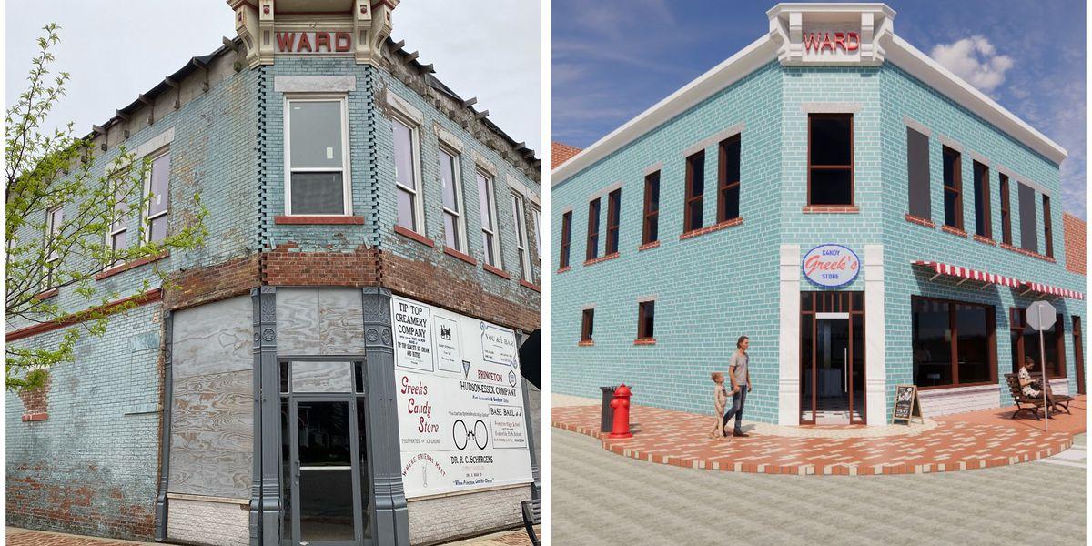 Downtown Princeton renovating old Greek's building