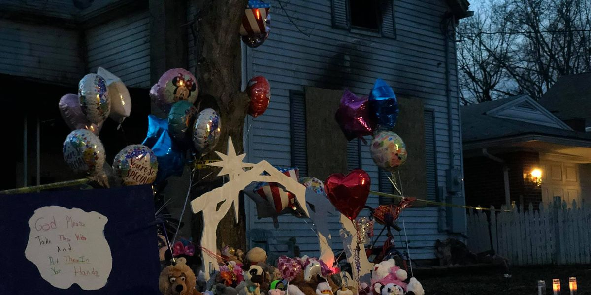 Memorial grows in front of Tell City home where three children died in a fire