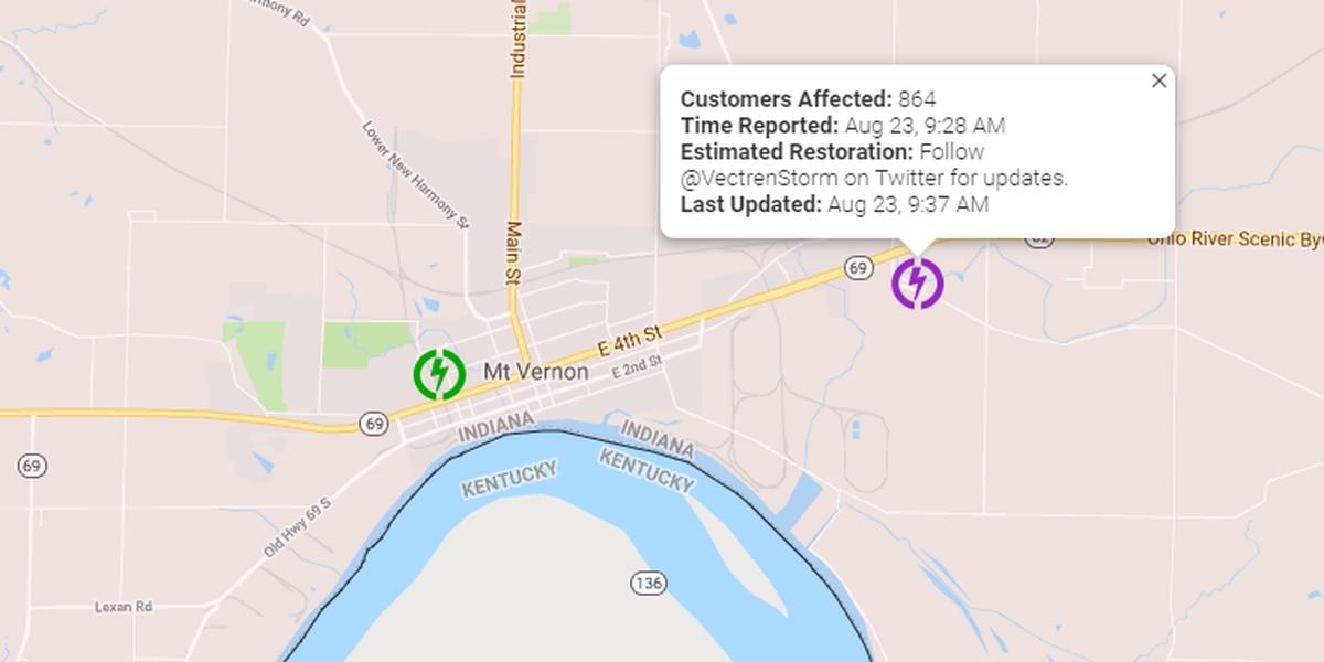 More than 800 Vectren customers lose power in Mt. Vernon