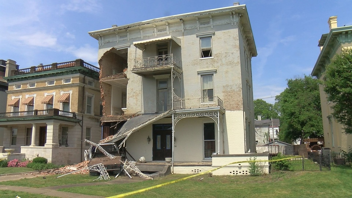 Truck drives into, damages historic home in downtown Evansville