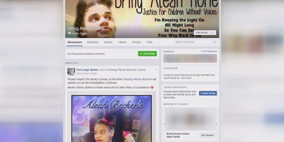 Family of Aleah Beckerle privatizing Facebook group