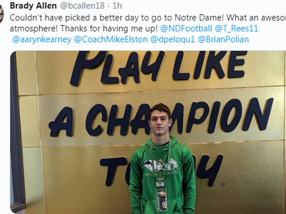 Gibson Southern QB Allen visits Notre Dame during USC weekend