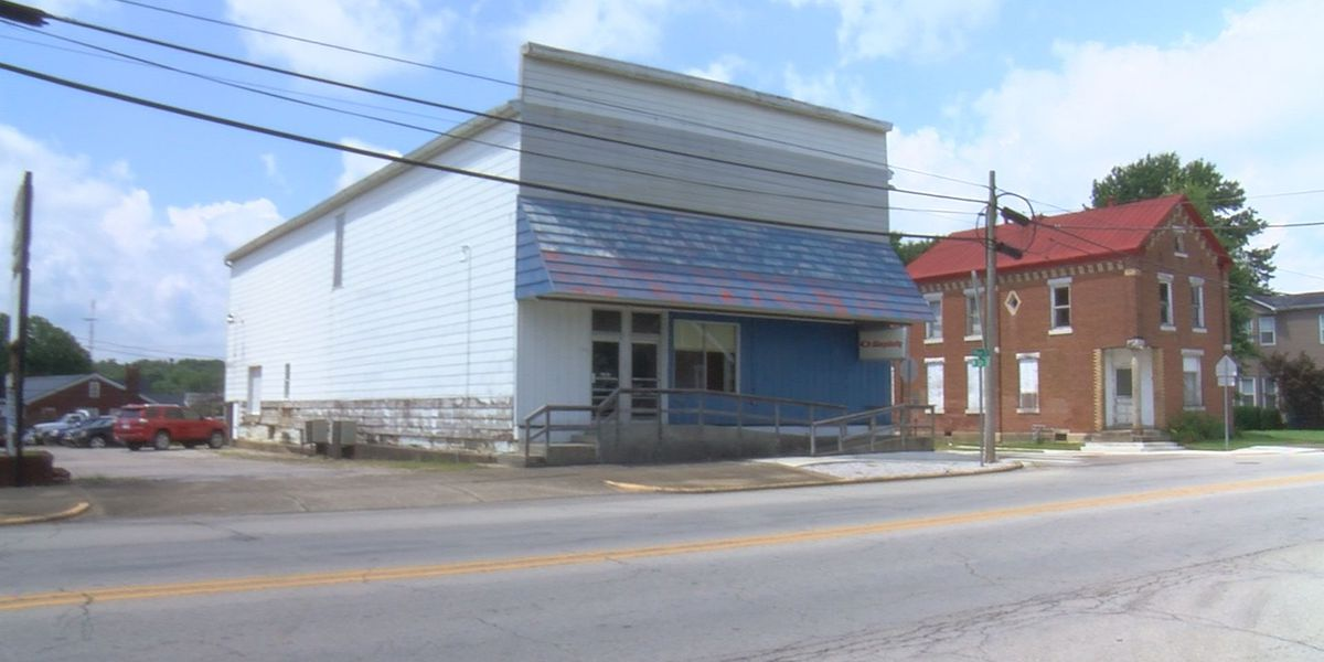 Historic building being restored in downtown Ferdinand