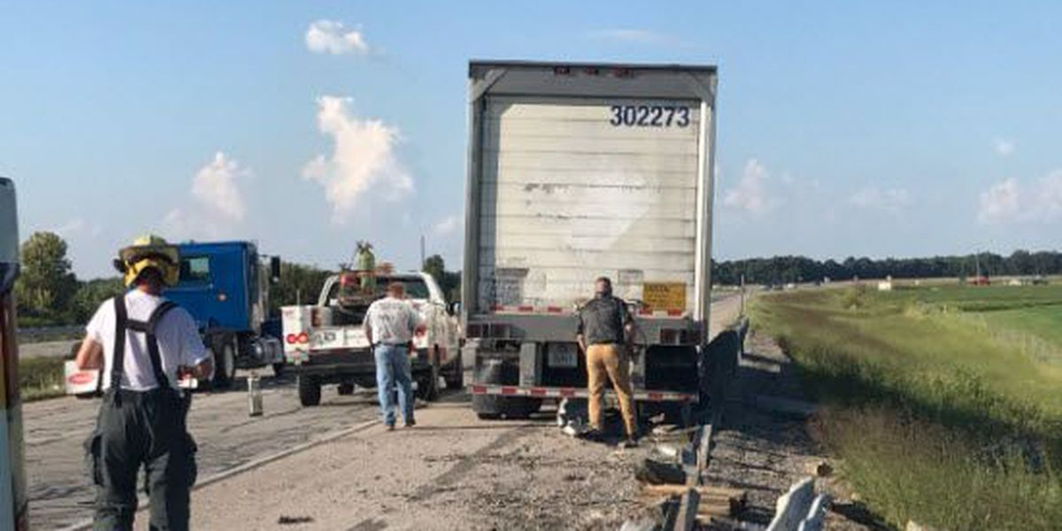 Sheriff's Office: Car catches fire after struck by semi