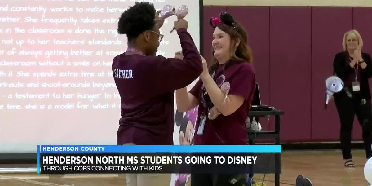 Some students from Henderson's North Middle School find out they are going to Disney World
