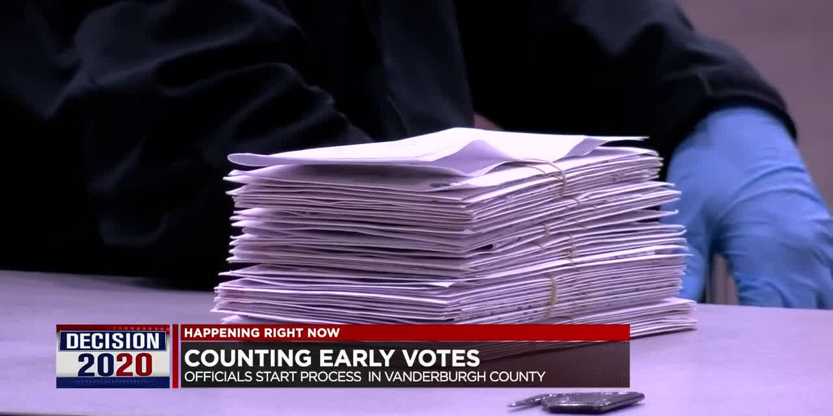 Opening mail-in and early voting ballots at Old National Events Plaza.