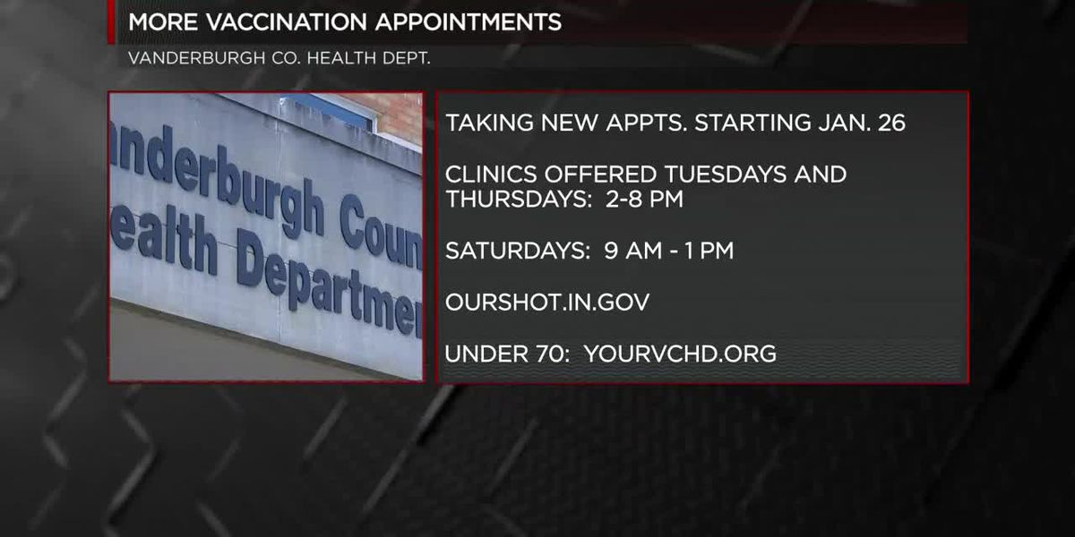 Vanderburgh Co. Health Dept. increases vaccine appointments, has back-up list