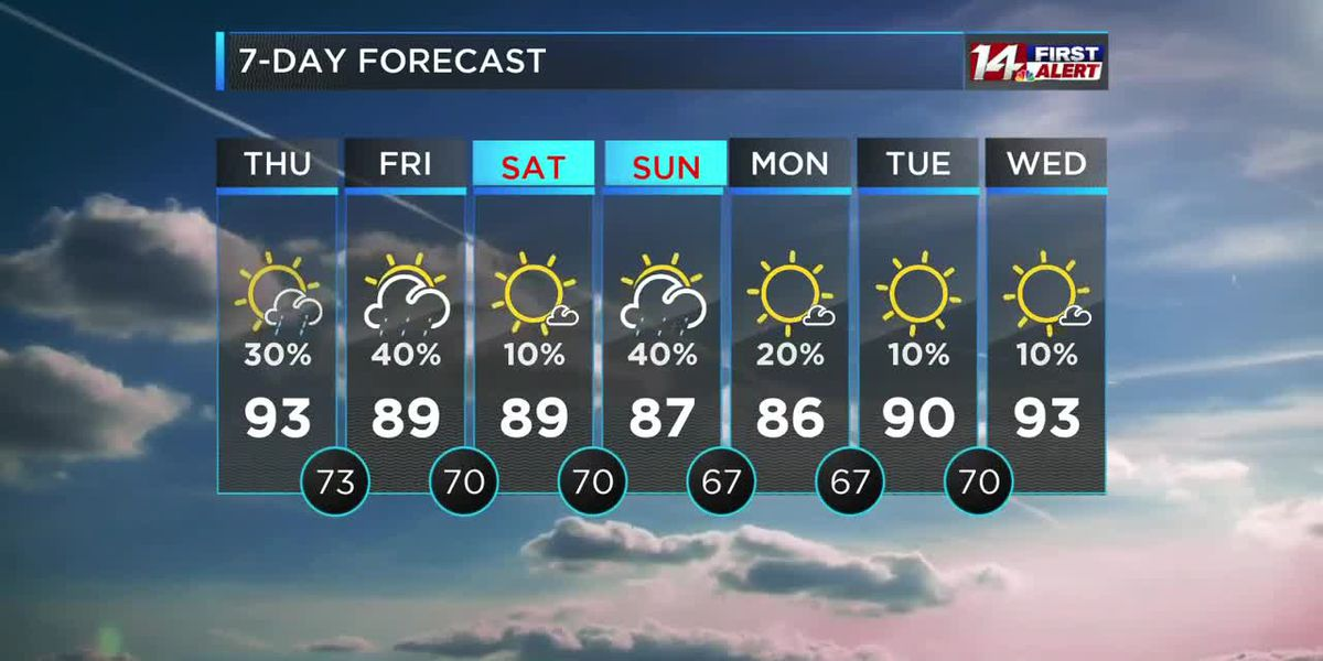 Hot and humid with isolated showers and storms today