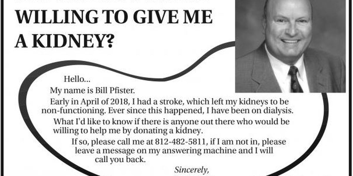 Man posts ad in local paper to find a new kidney