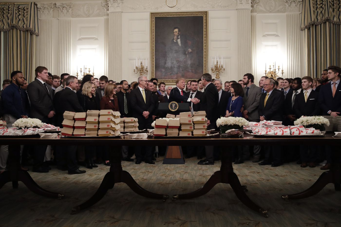 Trump Feeds Fcs National Champs Mcdonald S Chick Fil A