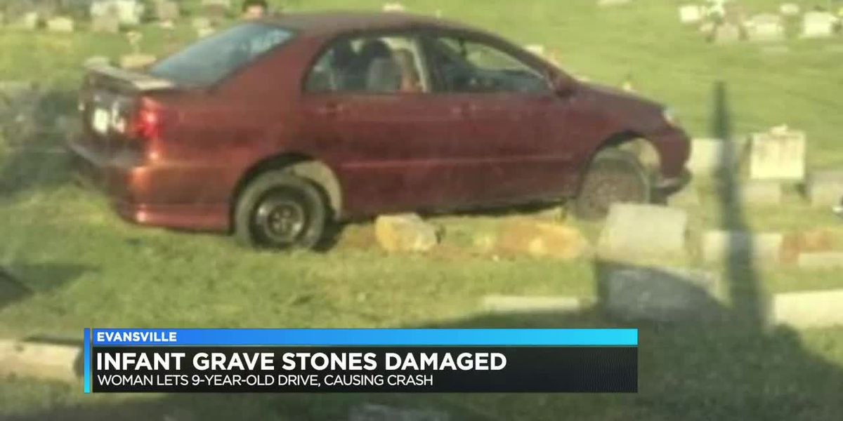 Infant headstones damaged after woman let child drive, police say