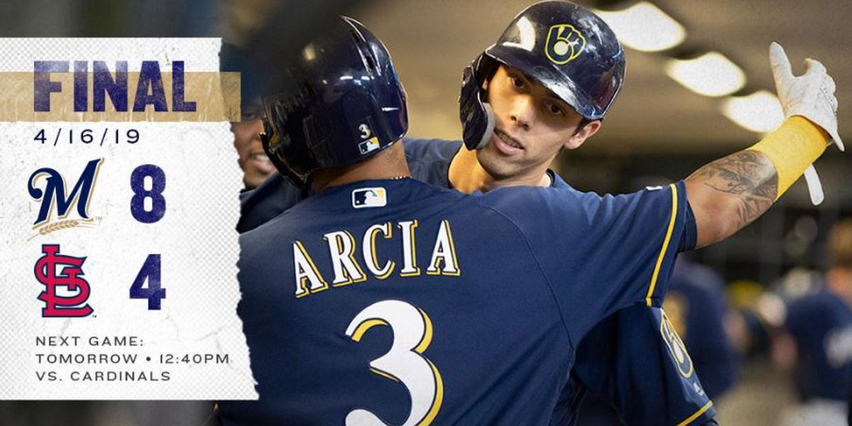 Yelich's 3-run homer helps Brewers past Cardinals, 8-4