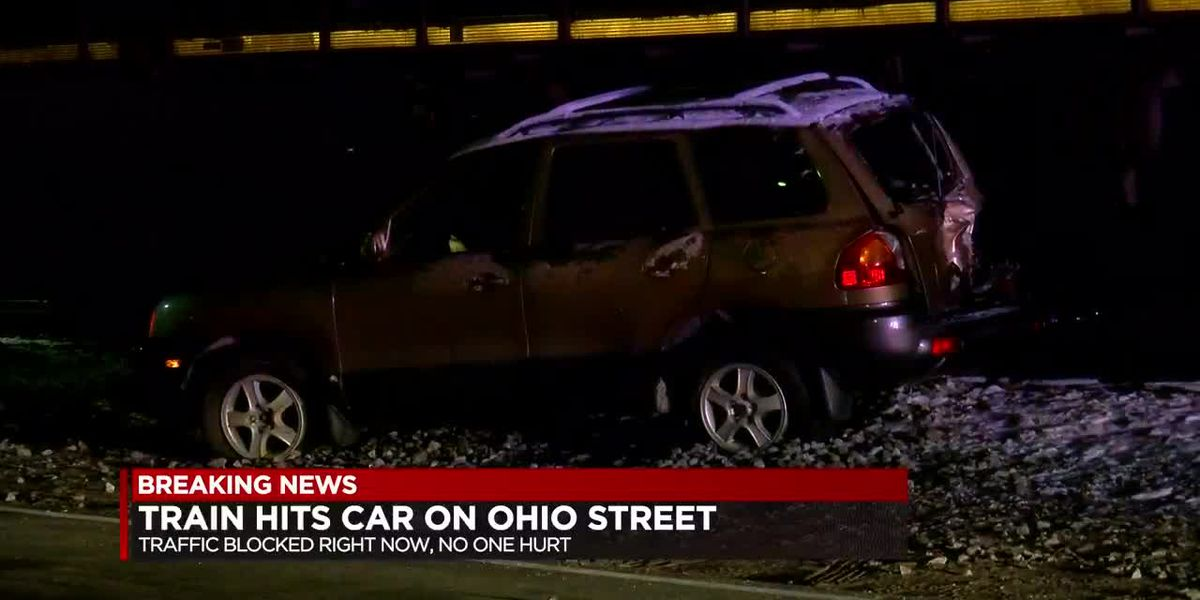 Train hits car that got stuck on tracks in Evansville