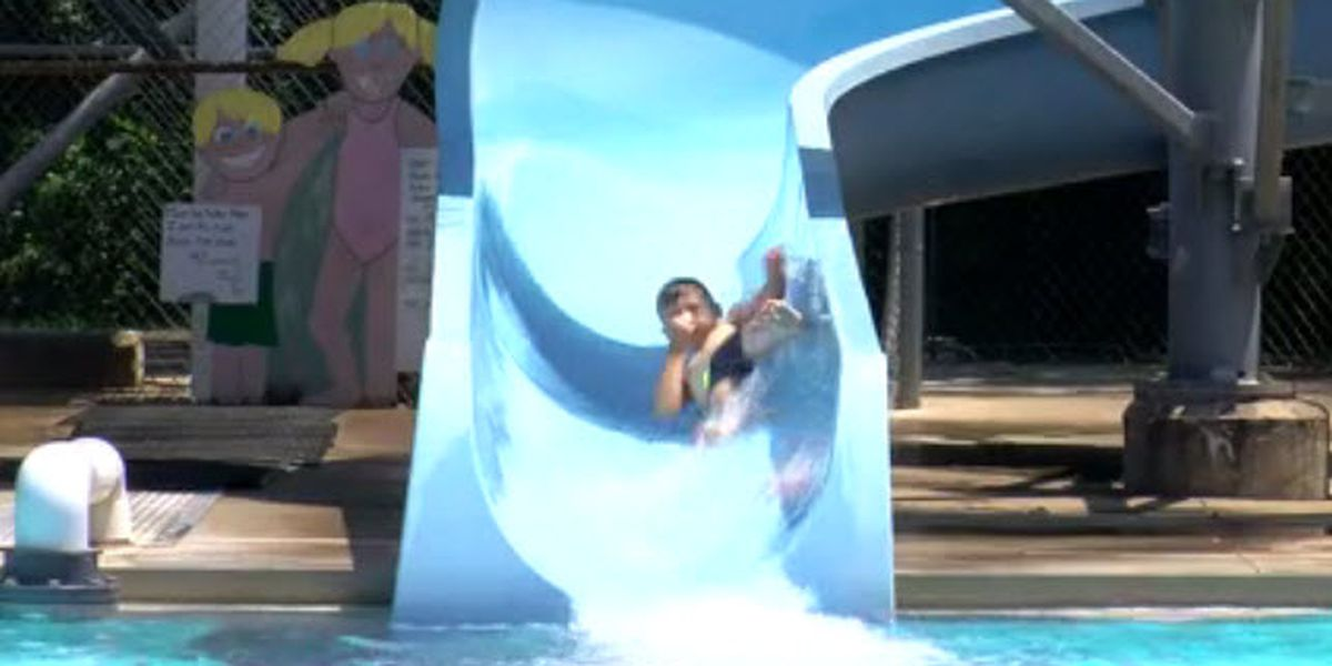 Campers flock to pool to keep cool during hot weather