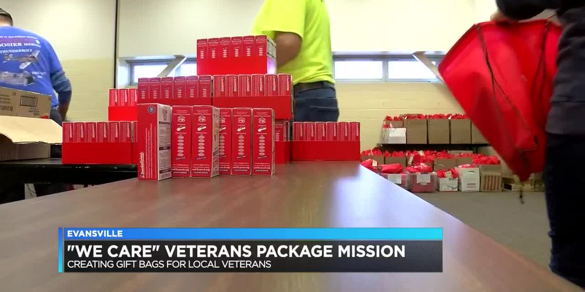 Honor Flight of Southern Indiana volunteers work on care packages for local veterans