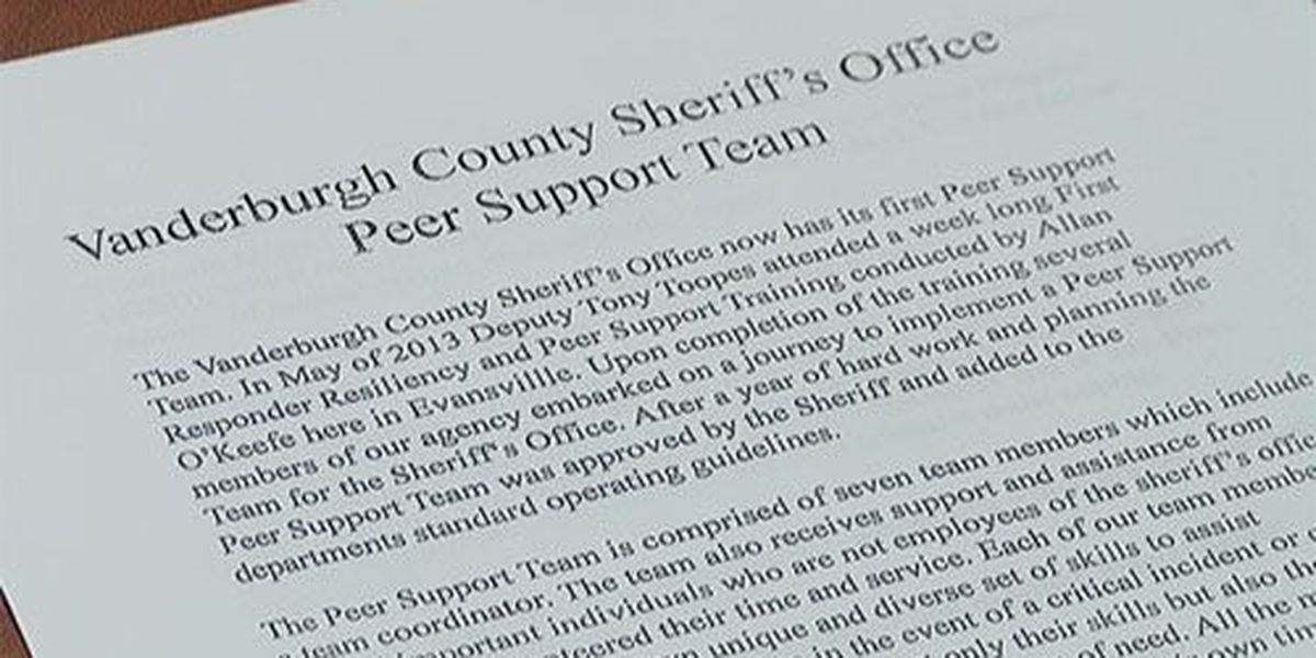 Peer support group formed for first responders in Vanderburgh Co.