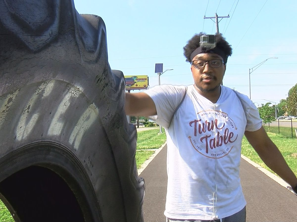 'Cancer sucks' tire rolling around town turns heads