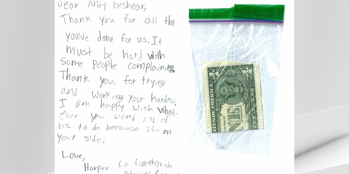 Ky. fourth-grader sends heartwarming note, allowance to Gov. Beshear for those suffering during pandemic