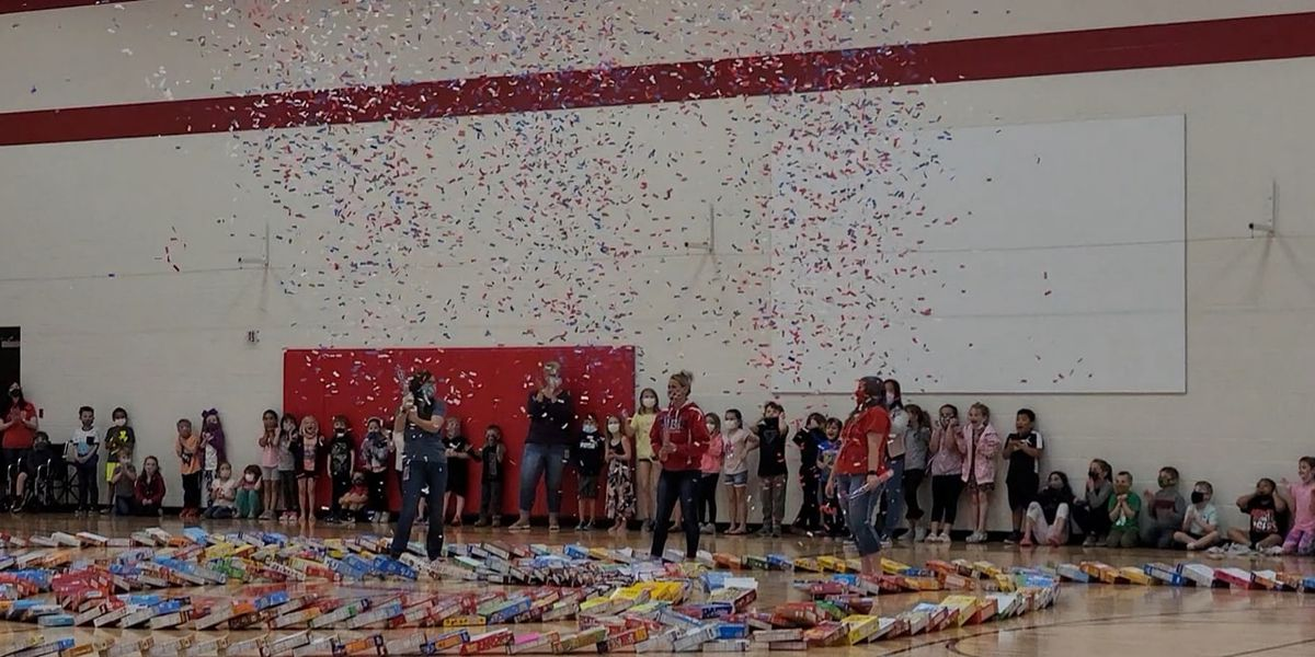 Cereal boxes make huge domino display before food pantry donation