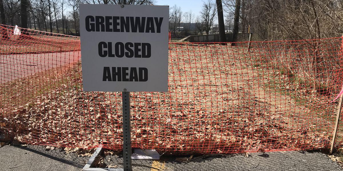 Evansville Greenway eroding into Pigeon Creek