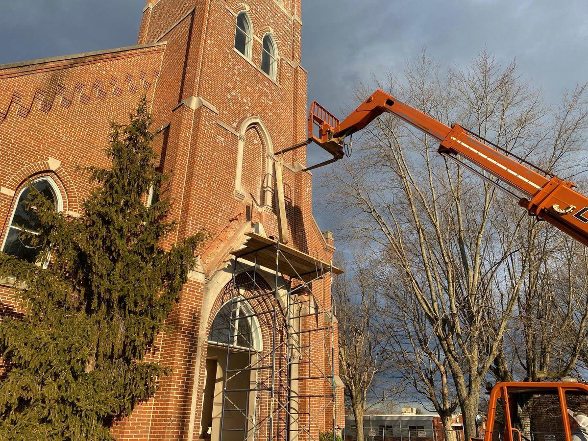 117 year old church building demo underway in Ireland, Ind.