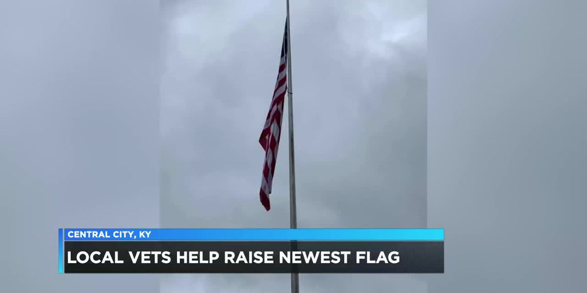 Local vets help raise Central City's newest American flag