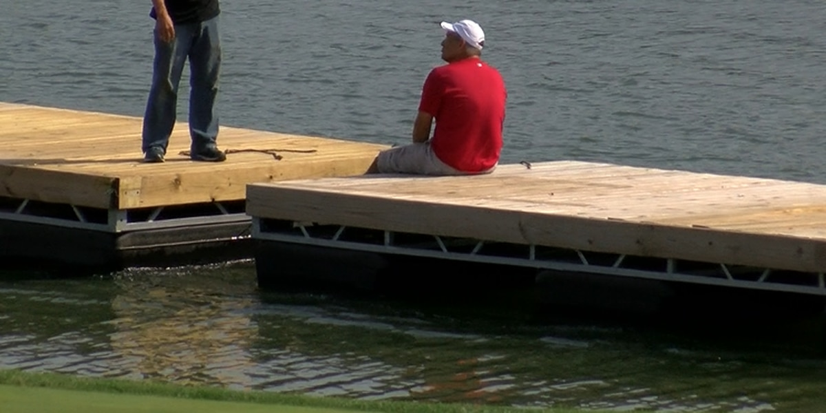 Hospitality Barge being set up for Korn Ferry Golf Tour Championship
