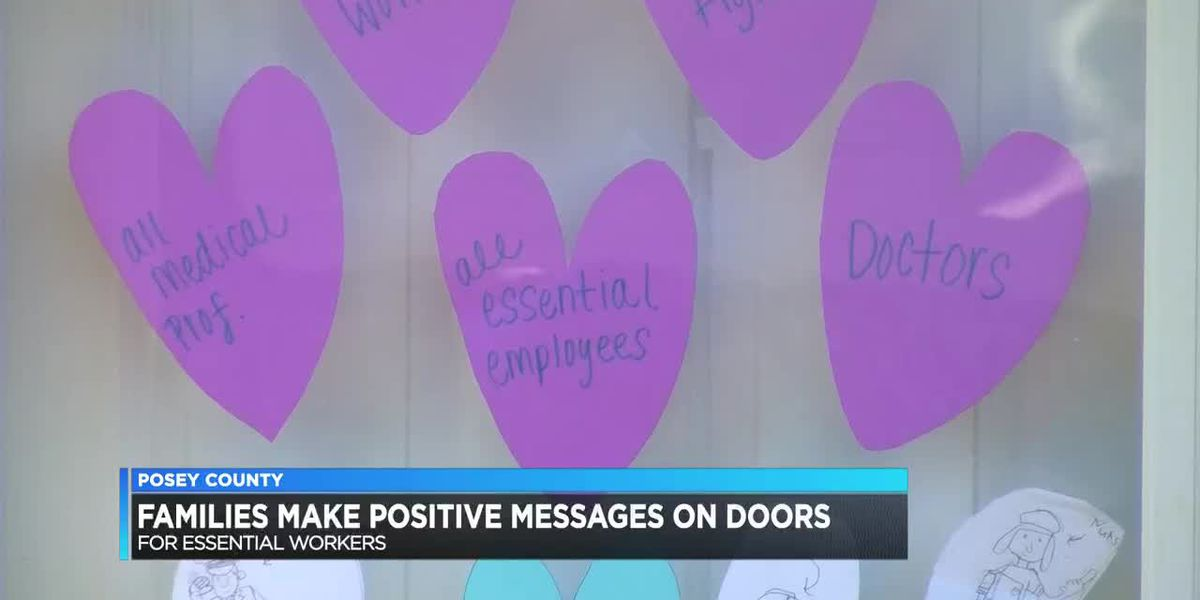 Posey Co. families make positive messages on doors for essential workers