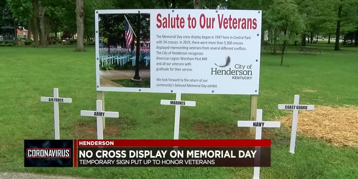 Henderson city leaders unveil temporary sign to honor Memorial Day cross display