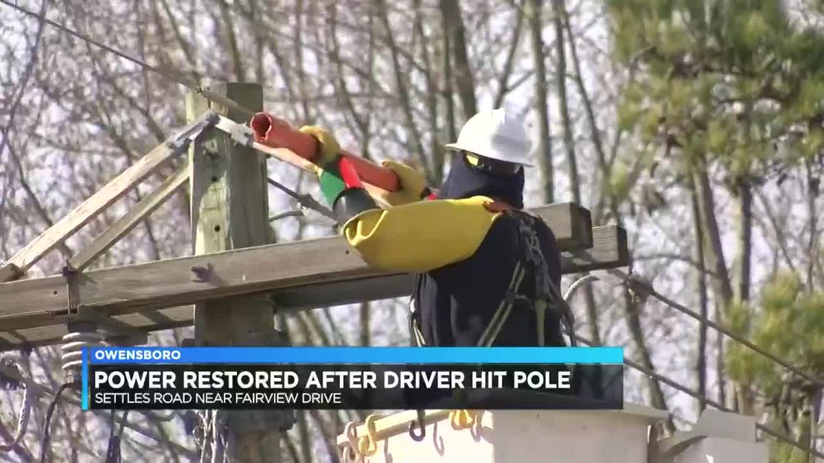 Power restored after vehicle hits utility pole in Owensboro
