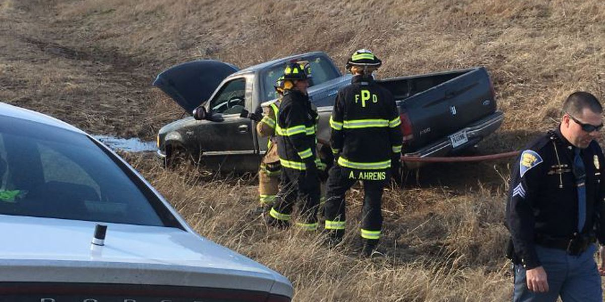 Driver in custody after chase, grass underneath truck ignites into flames