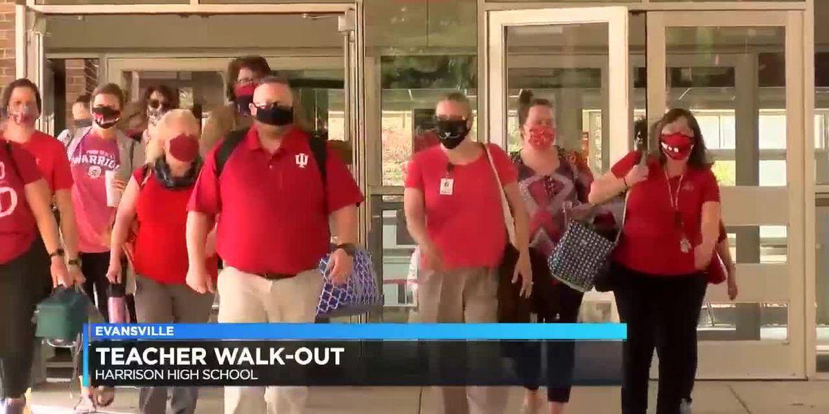 Evansville teachers walk in support of state education changes