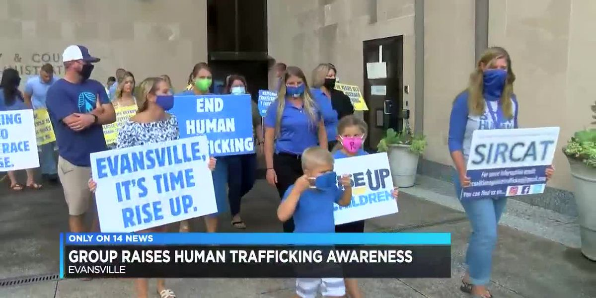 Group marches in downtown Evansville for human trafficking awareness