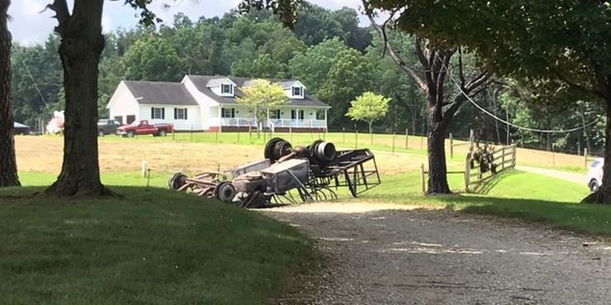 Farm equipment catches fire; road closed for hours