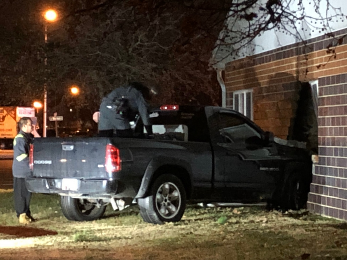 Truck smashes into downtown Evansville office
