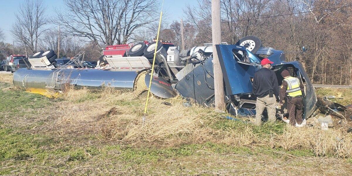 Sheriff's Office: Tanker carrying egg yolk crashes in Dubois Co., causes lane closures