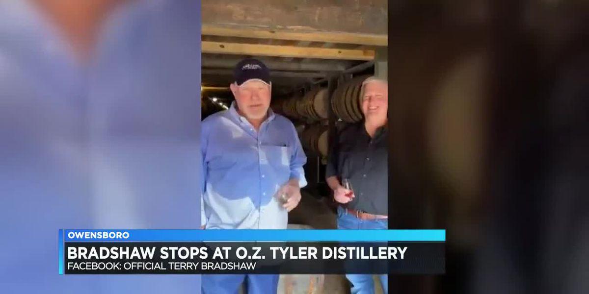 Terry Bradshaw visits OZ Tyler Distillery
