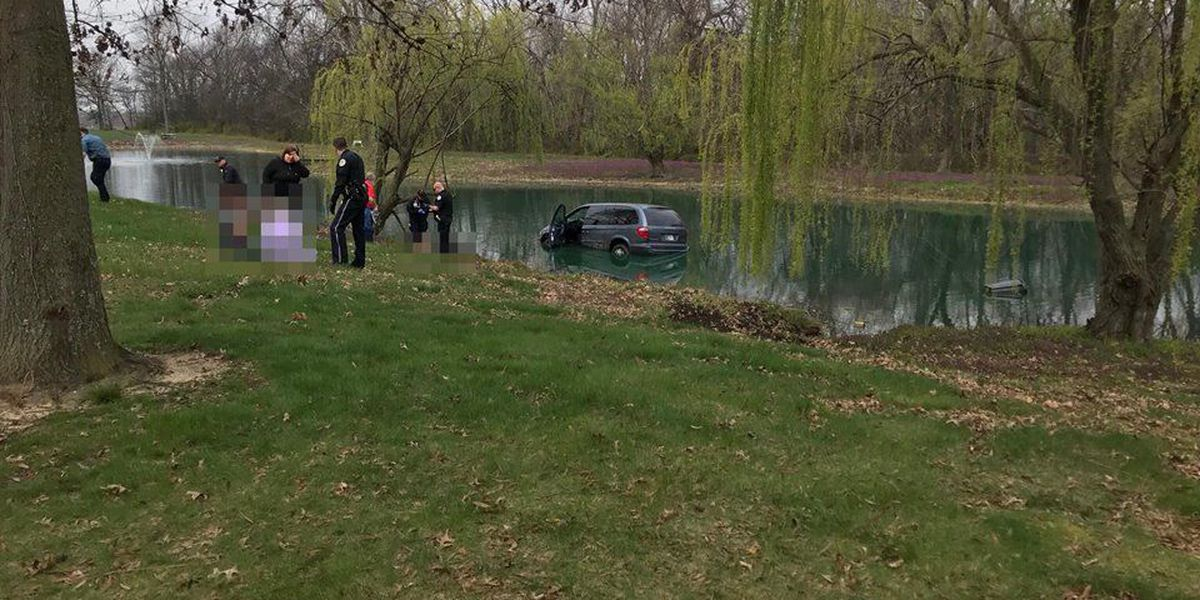 Person taken to hospital after van plunges into Henderson pond