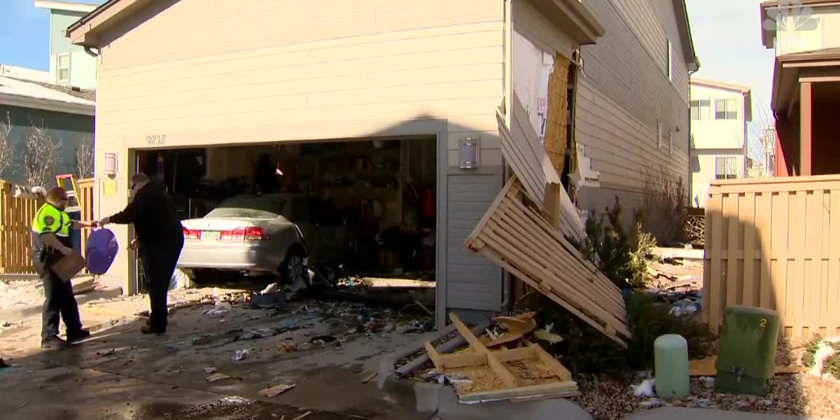 Airborne car crashes through 2 homes